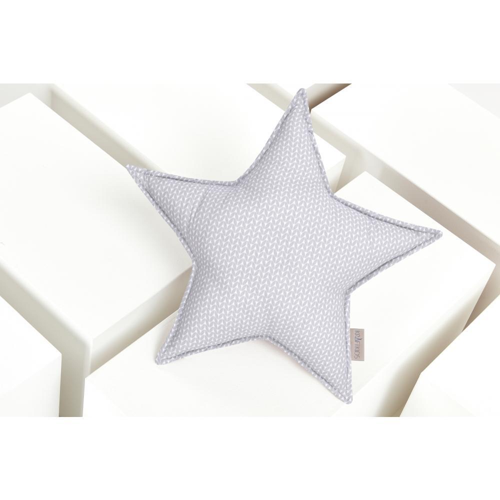 KraftKids Sternkissen kleine Blätter hellgrau auf Weiß