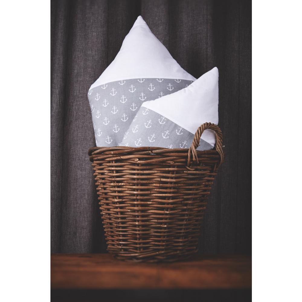 KraftKids Stoffhäuschen weiße Anker auf Grau und Uniweiss Inhalt: ein kleines und großes Häuschen