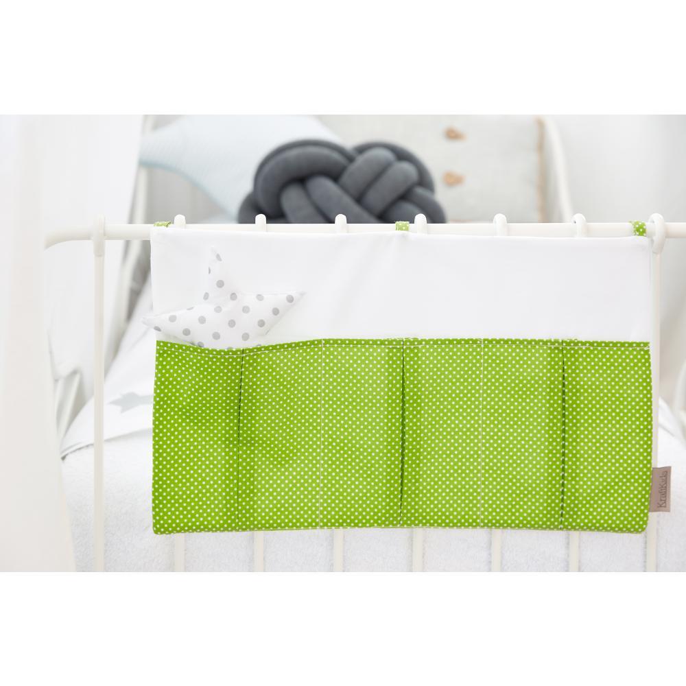 KraftKids Betttasche Uniweiss und weiße Punkte auf Grün