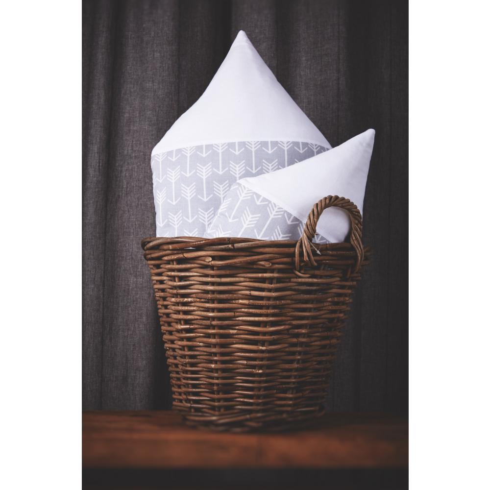KraftKids Stoffhäuschen weiße Pfeile auf Grau und Uniweiss Inhalt: ein kleines und großes Häuschen