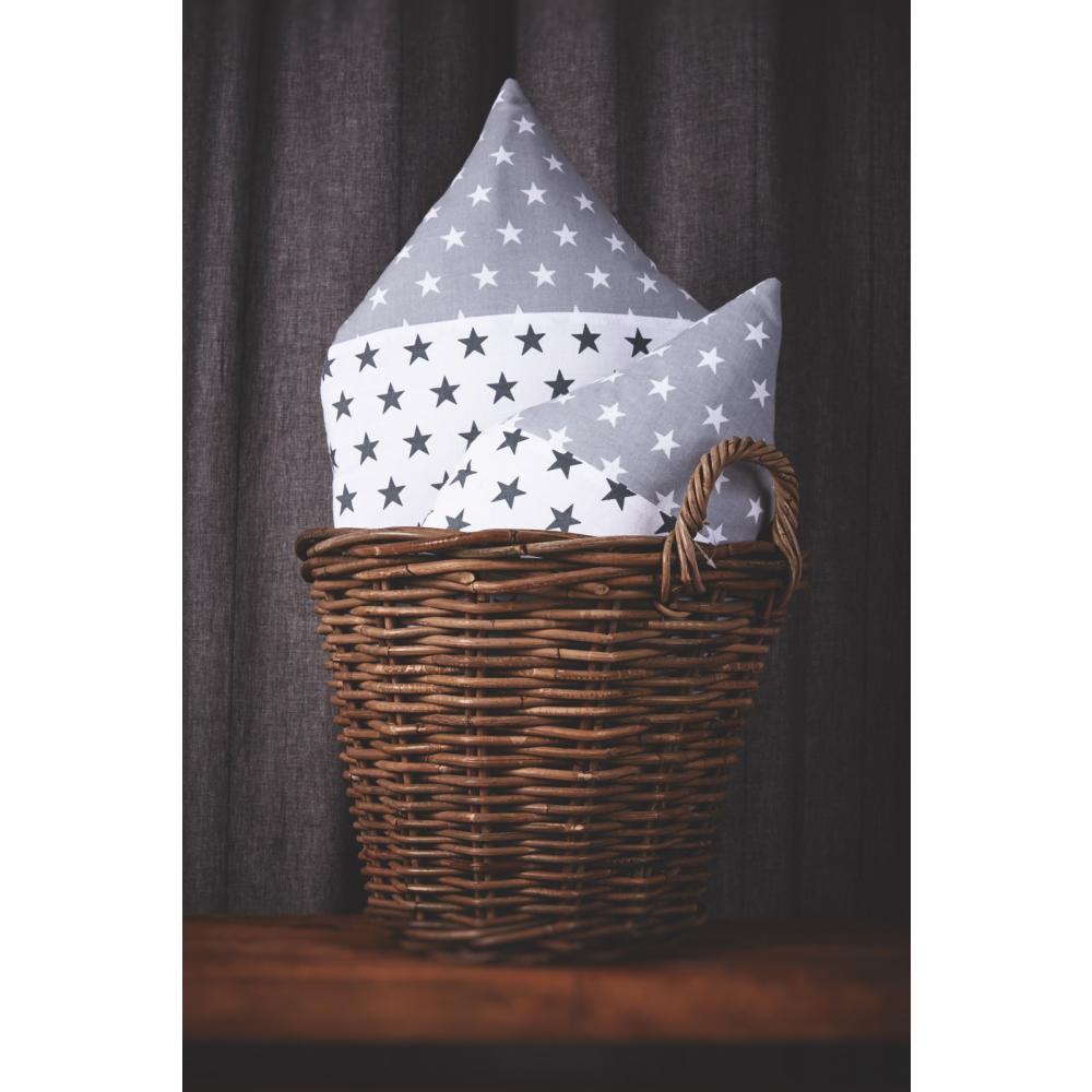 KraftKids Dekoration Stoffhäuschen kleine weiße Sterne auf Grau und kleine graue Sterne auf Weiss Inhalt: ein kleines und großes Häuschen