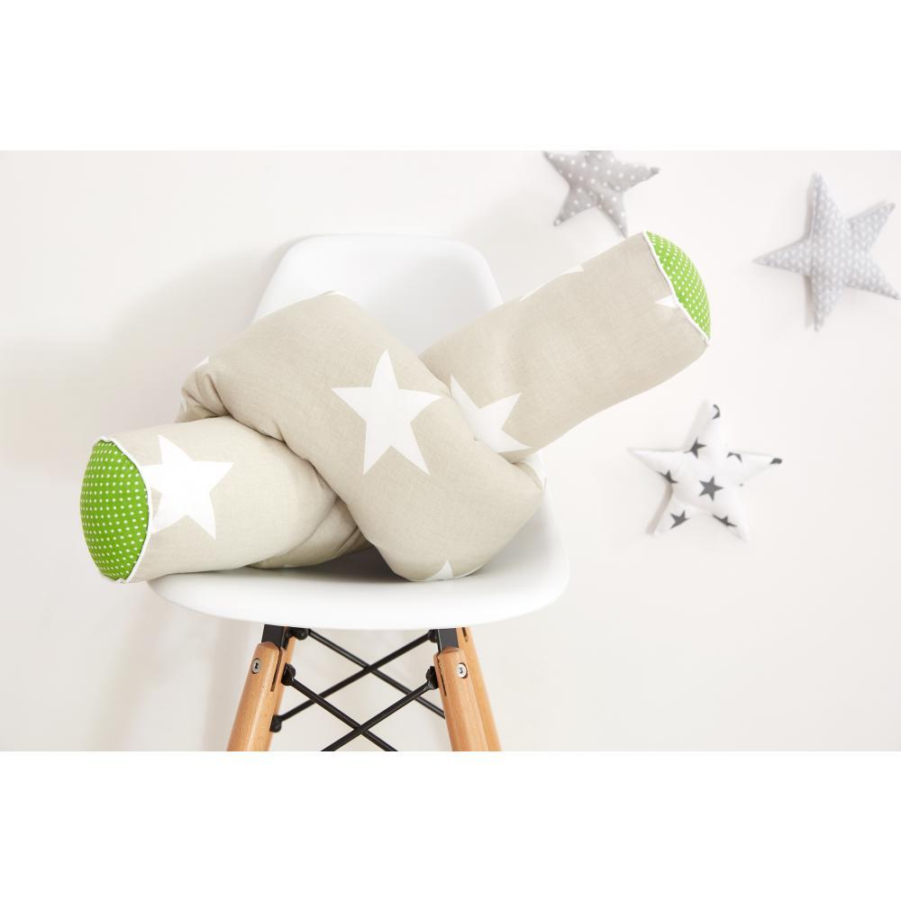 KraftKids Bettrolle große weiße Sterne auf Beige und weiße Punkte auf Grün Stärke: 10 cm, Rollenlänge 200 cm
