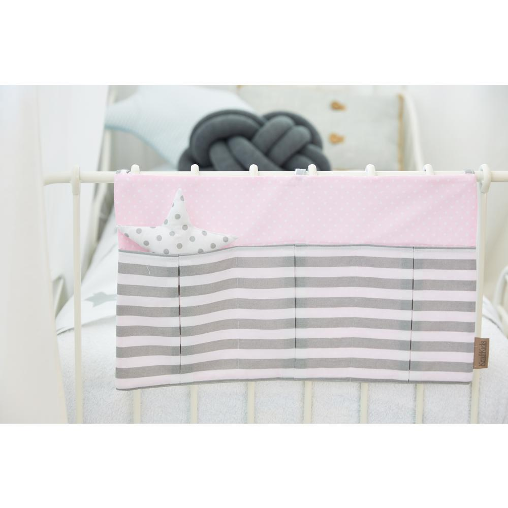 KraftKids Betttasche weiße Punkte auf Rosa und dicke Streifen grau