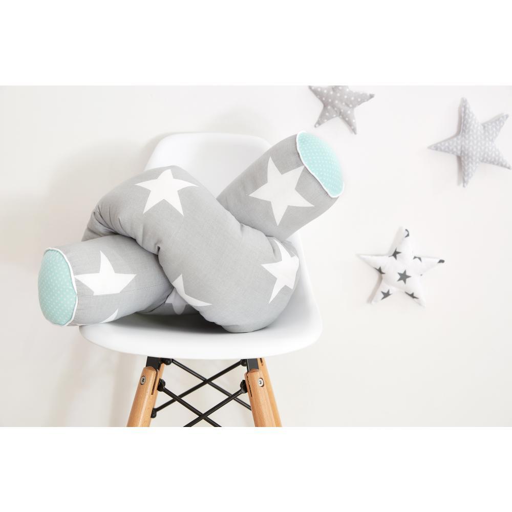 KraftKids Bettrolle große weiße Sterne auf Grau und weiße Punkte auf Mint Stärke: 10 cm, Rollenlänge 200 cm
