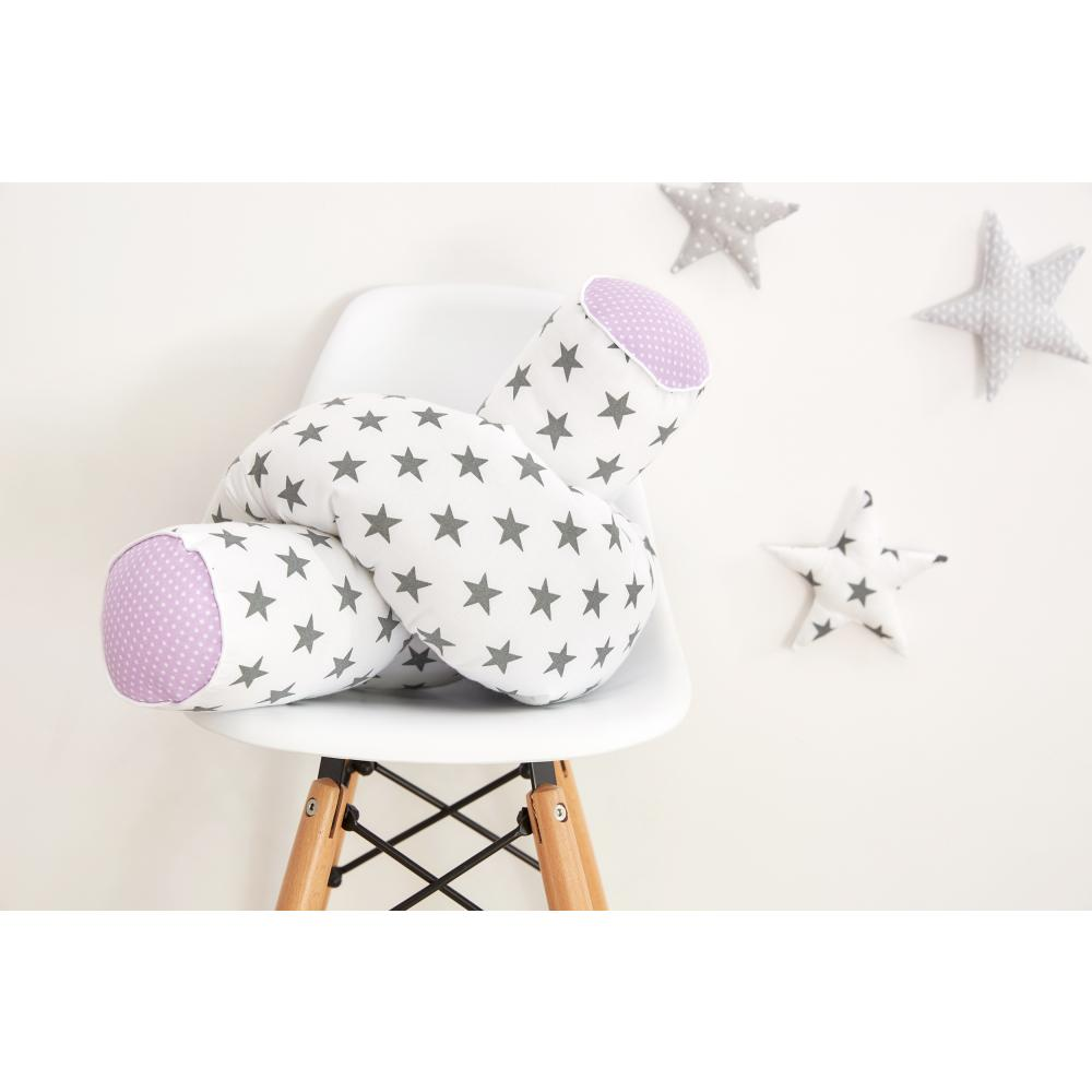 KraftKids Bettrolle kleine graue Sterne auf Weiss und weiße Punkte auf Lila Stärke: 10 cm, Rollenlänge 200 cm