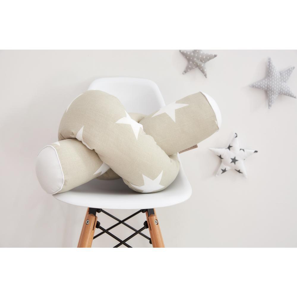 KraftKids Bettrolle große weiße Sterne auf Beige Stärke: 10 cm, Rollenlänge 200 cm