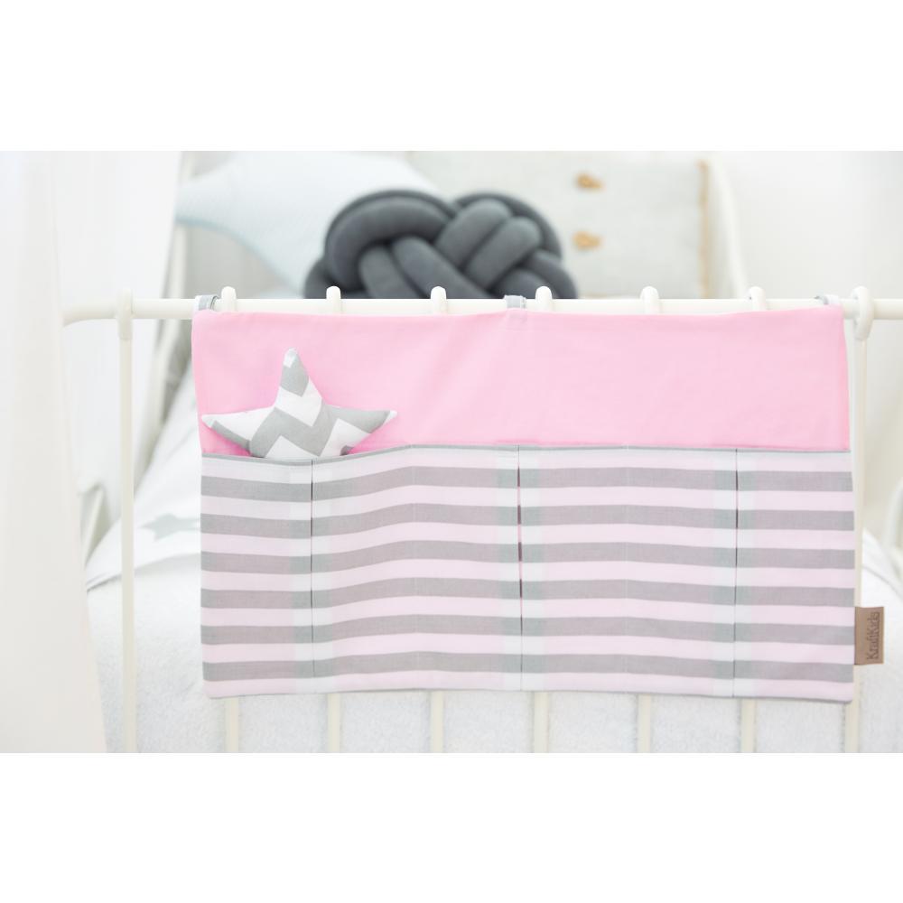 KraftKids Betttasche Unirosa und dicke Streifen grau