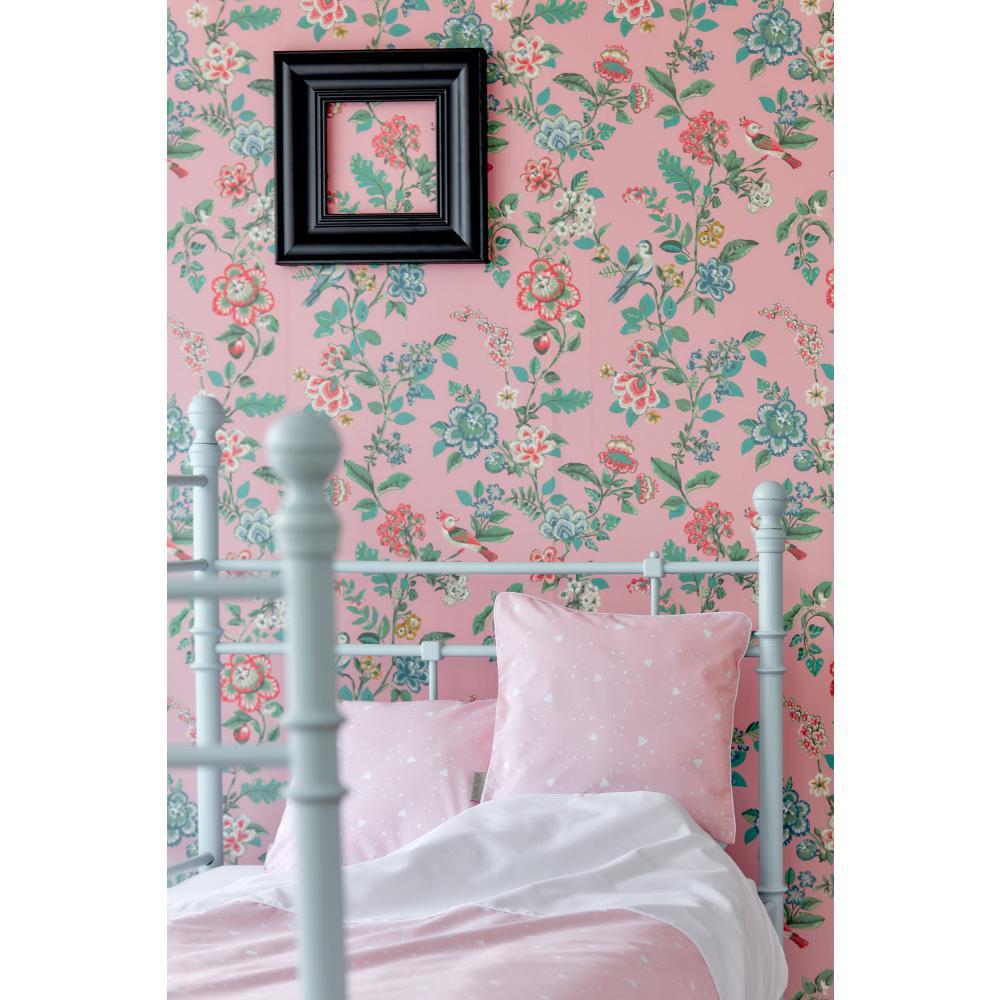 KraftKids Bettwäscheset abgerundete Dreiecke weiß auf Rosa 140 x 200 cm, Kissen 80 x 80 cm