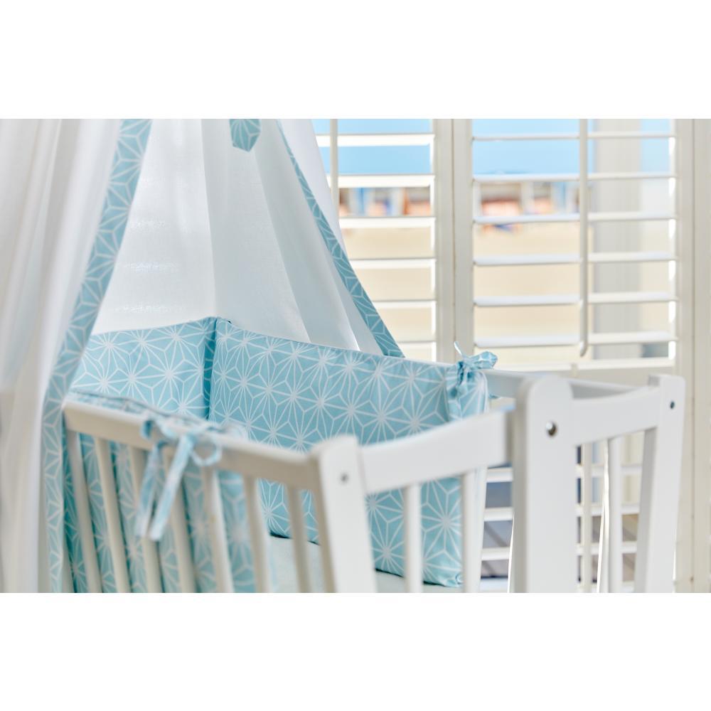 KraftKids Nestchen weiße Diamante auf Pastel Blau Nestchenlänge 60-70-60 cm für Bettgröße 140 x 70 cm