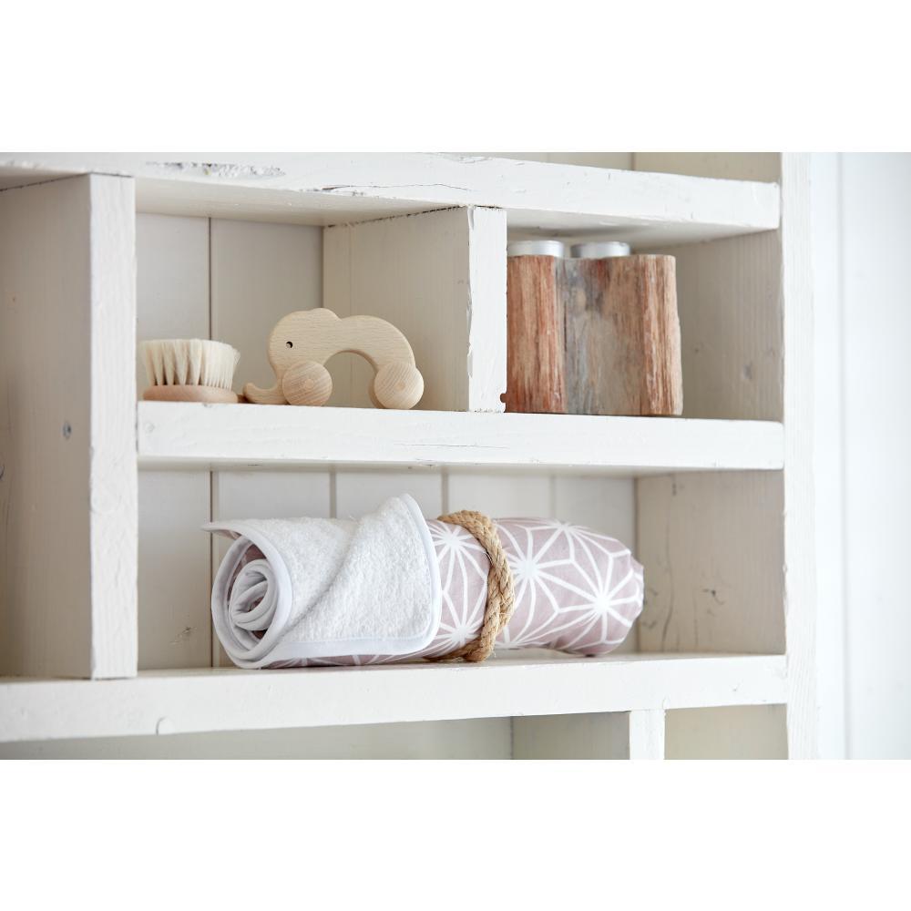 KraftKids Wickelunterlage weiße Diamante auf Cameo Rosa 3 Lagen wasserundurchlässig weich Frotte 100% Baumwolle