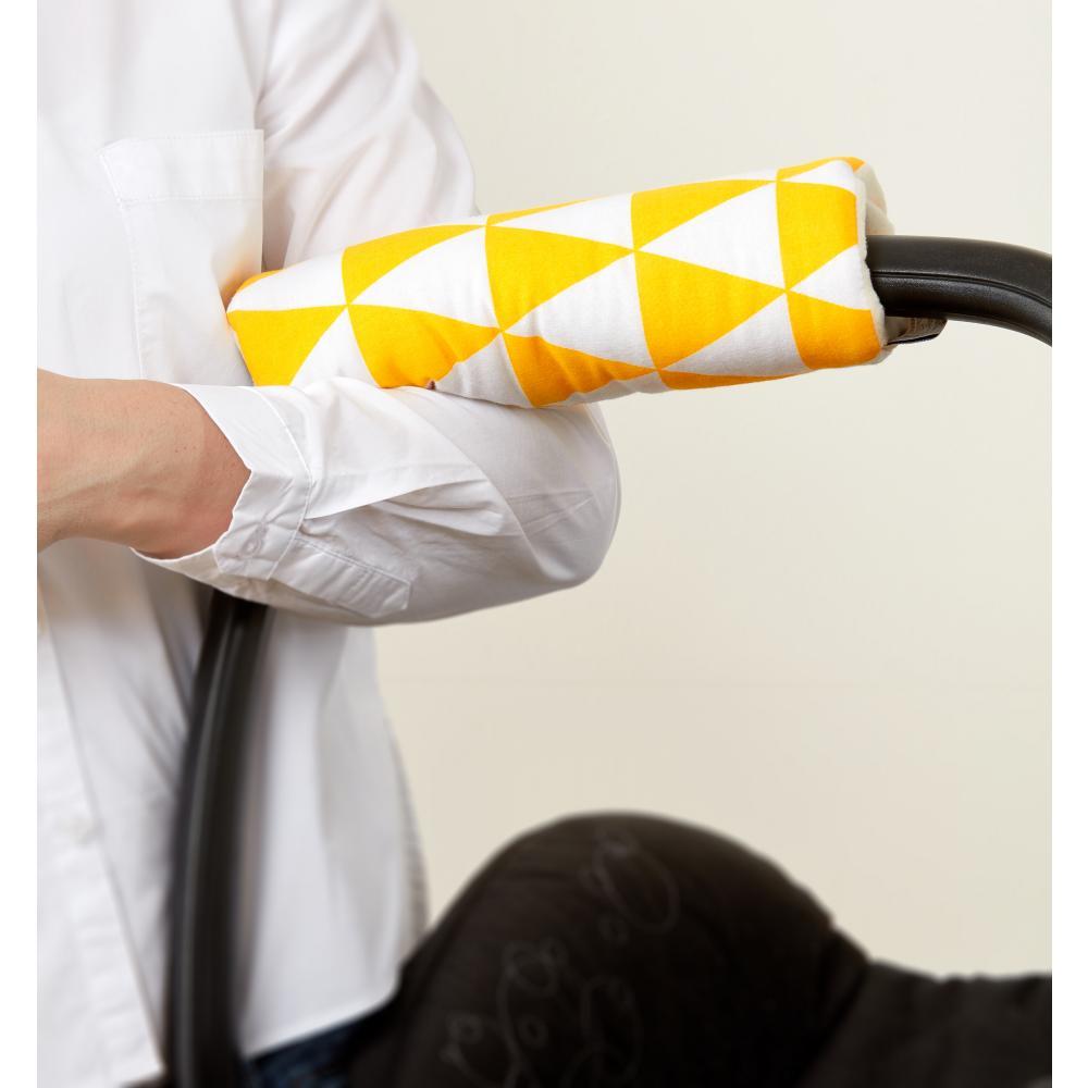 KraftKids Armschoner Babyschale gelbe Dreiecke Babyschale Armpolster