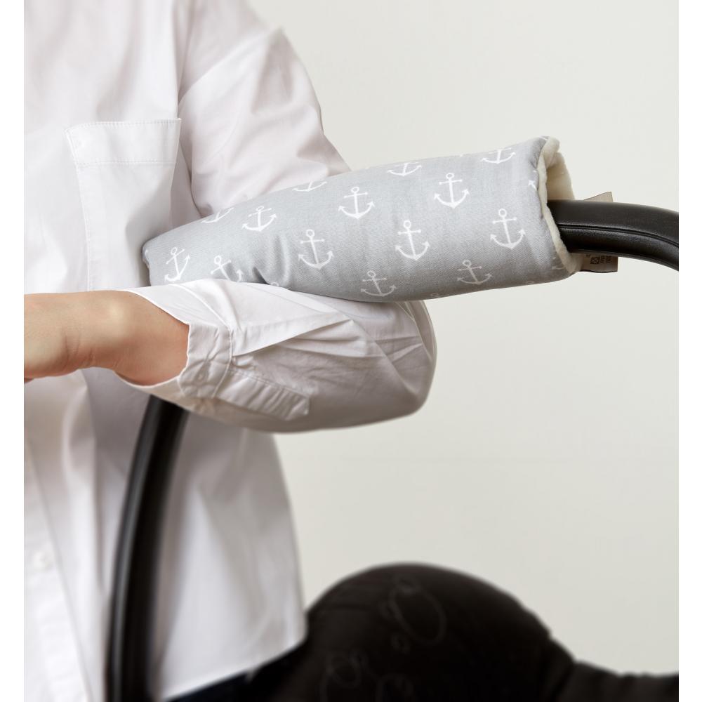 KraftKids Armschoner Babyschale weiße Anker auf Grau Babyschale Armpolster