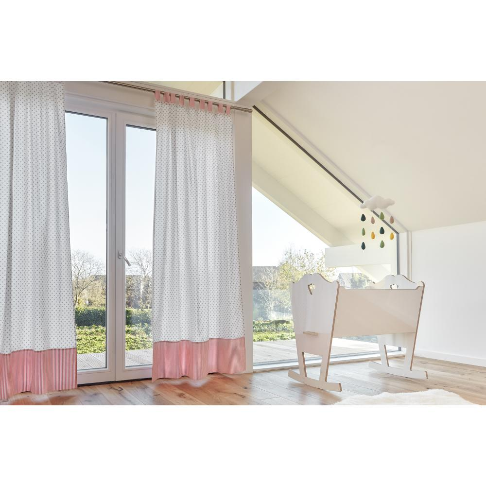 KraftKids Gardinen graue Punkte auf Weiss und Streifen rosa Länge: 230 cm