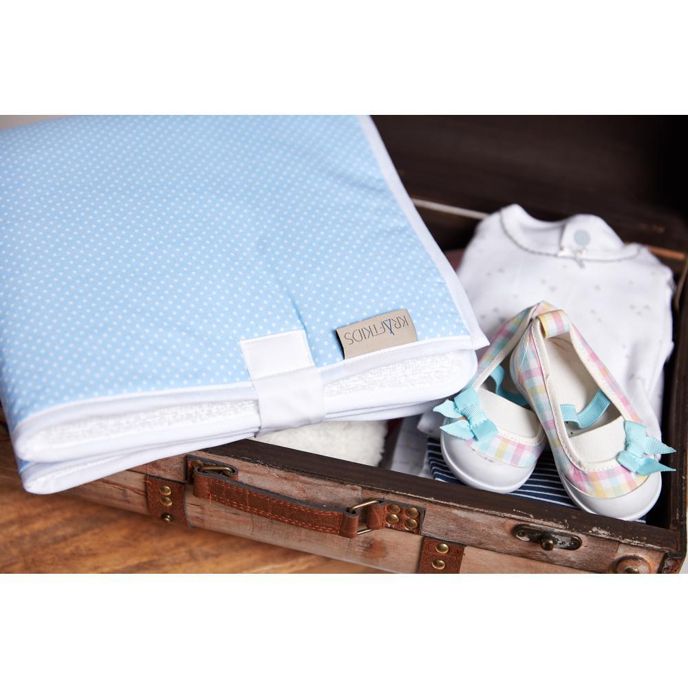 KraftKids Reisewickelunterlage weiße Punkte auf Hellblau 3 Lagen wasserundurchlässig weich Frotte 100% Baumwolle