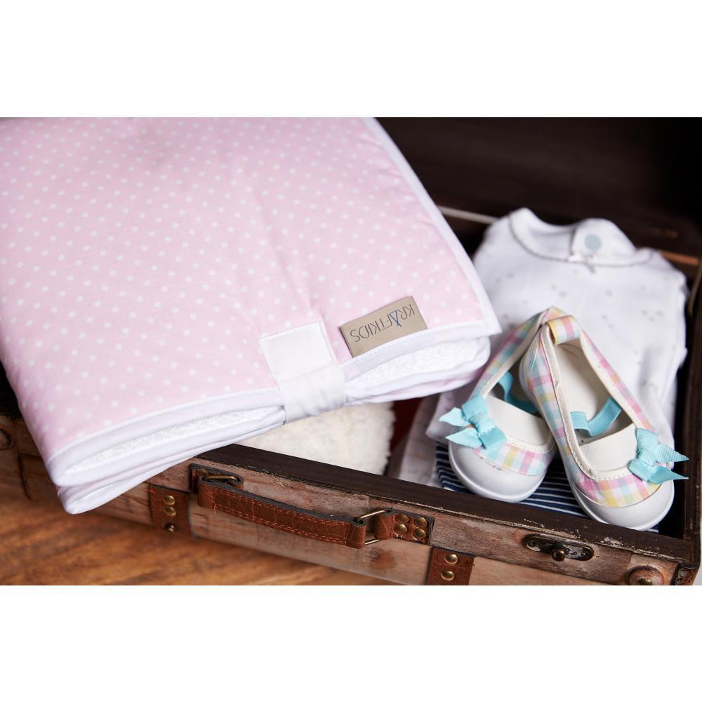 KraftKids Reisewickelunterlage weiße Punkte auf Rosa 3 Lagen wasserundurchlässig weich Frotte 100% Baumwolle
