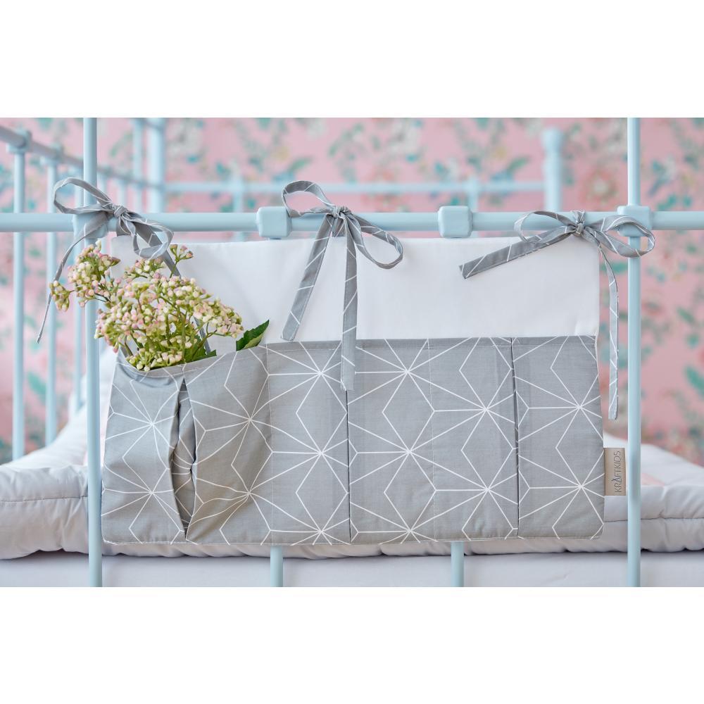 KraftKids Betttasche weiße dünne Diamante auf Grau