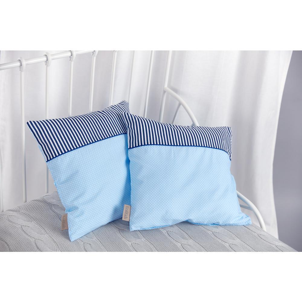 KraftKids Kissenbezug weiße Punkte auf Hellblau und Streifen dunkelblau