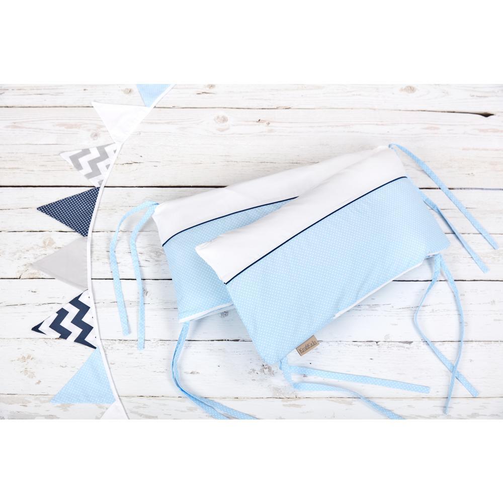 KraftKids Nestchen Uniweiss und weiße Punkte auf Hellblau Nestchenlänge 60-60-60 cm für Bettgröße 120 x 60 cm