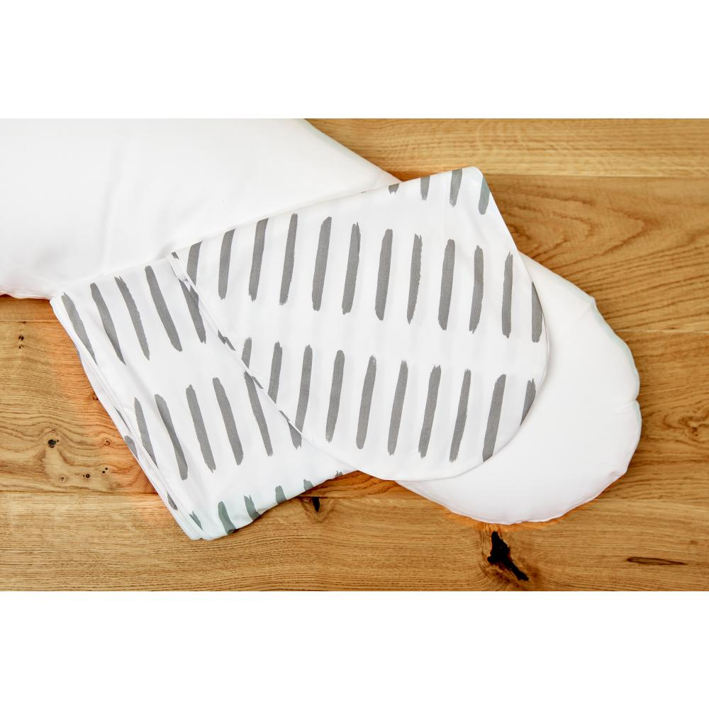 KraftKids Stillkissenbezug graue Striche auf Weiß