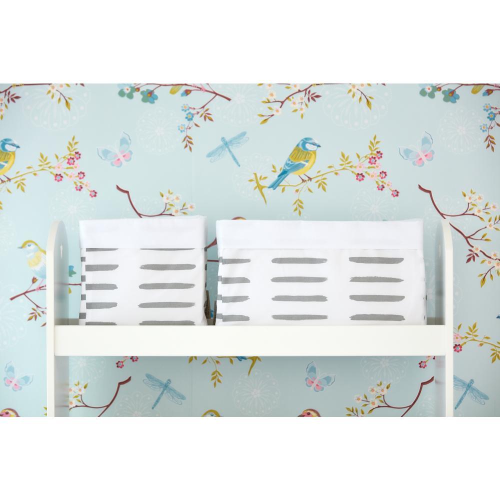 KraftKids Körbchen graue Striche auf Weiß 20 x 20 x 20 cm
