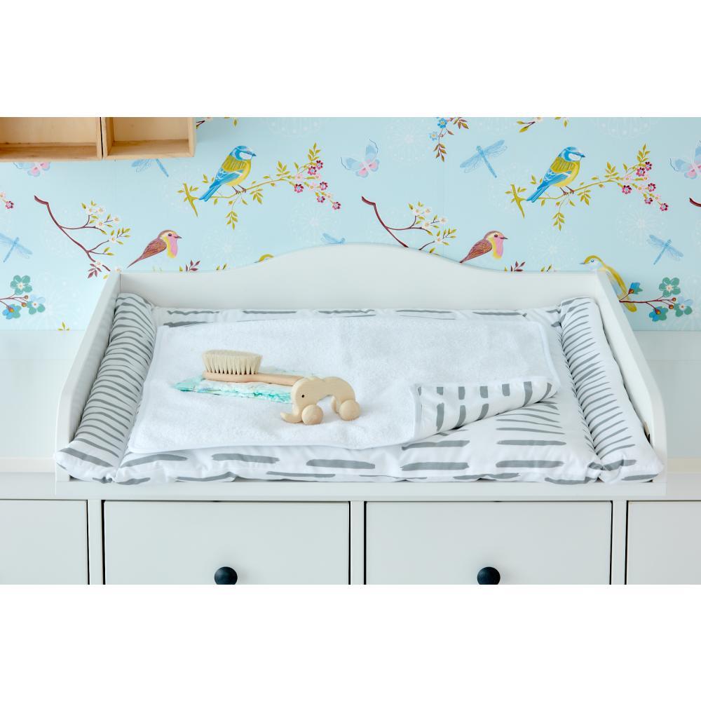 KraftKids Wickelunterlage graue Striche auf Weiß 3 Lagen wasserundurchlässig weich Frotte 100% Baumwolle