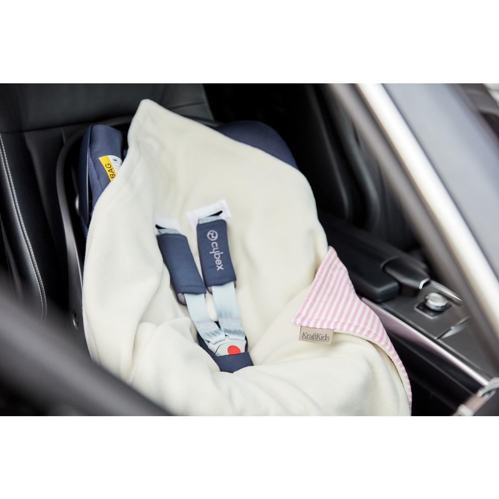 KraftKids Decke für Babyschale Winter Streifen rosa