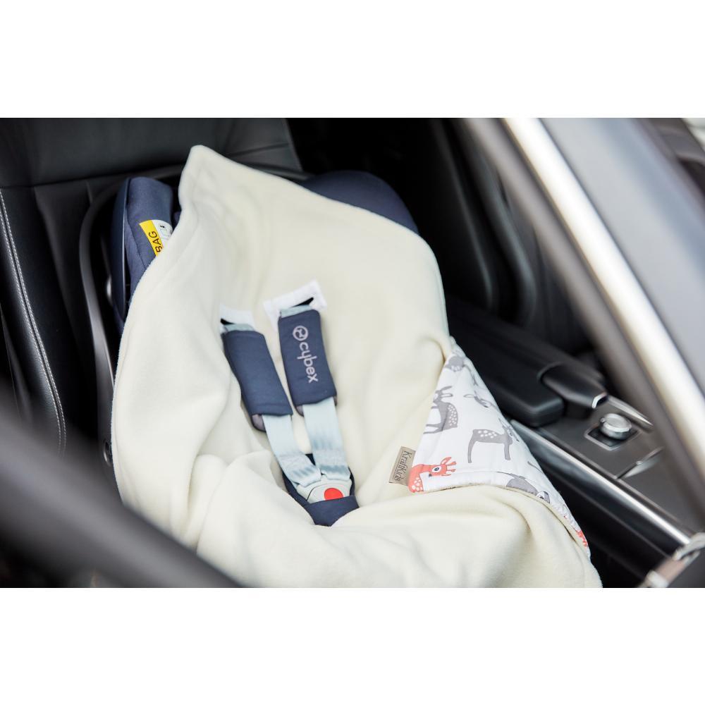 KraftKids Einschlagdecke für Babyschale kleine Rehkitze grau orange auf Weiß