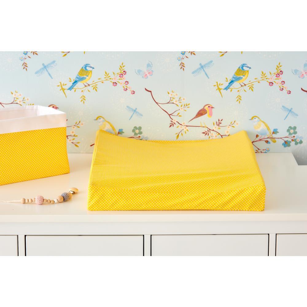 KraftKids Bezug für Keilwickelauflage weiße Punkte auf Gelb