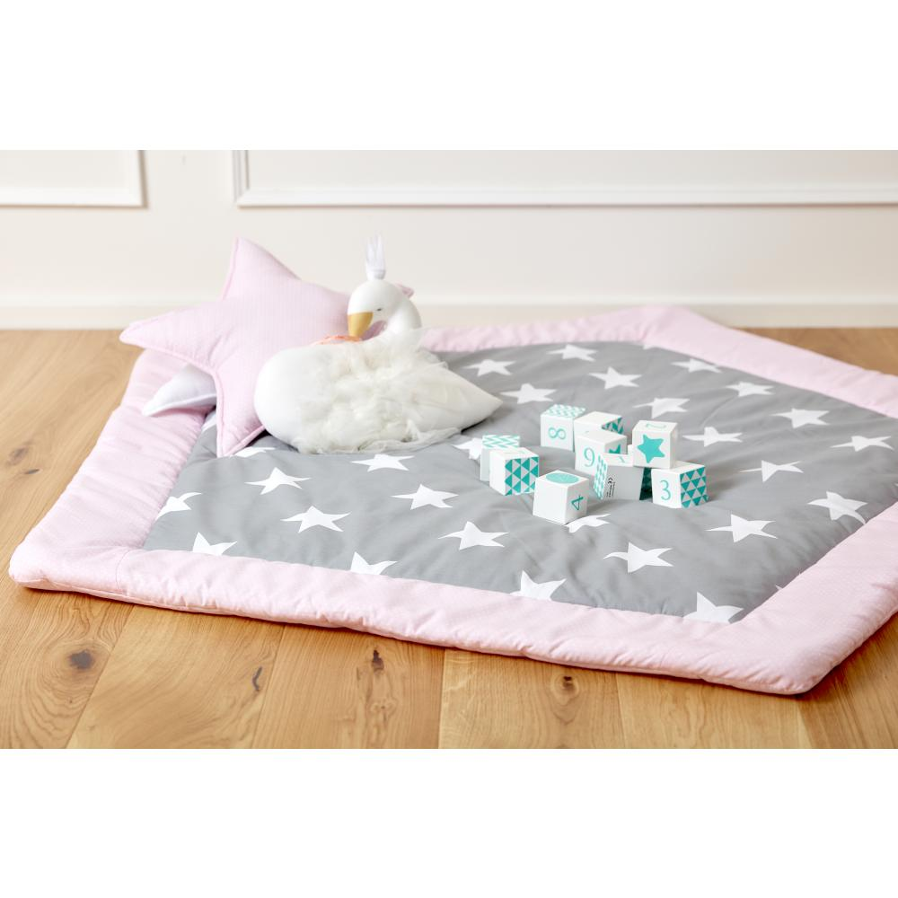 KraftKids Spielmatte große weiße Sterne auf Grau und weiße Punkte auf Rosa