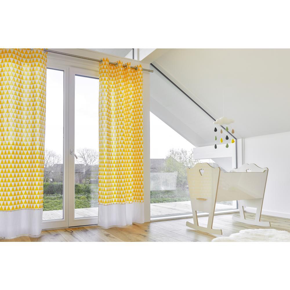 KraftKids Gardinen Uniweiss und gelbe Dreiecke Länge: 170 cm
