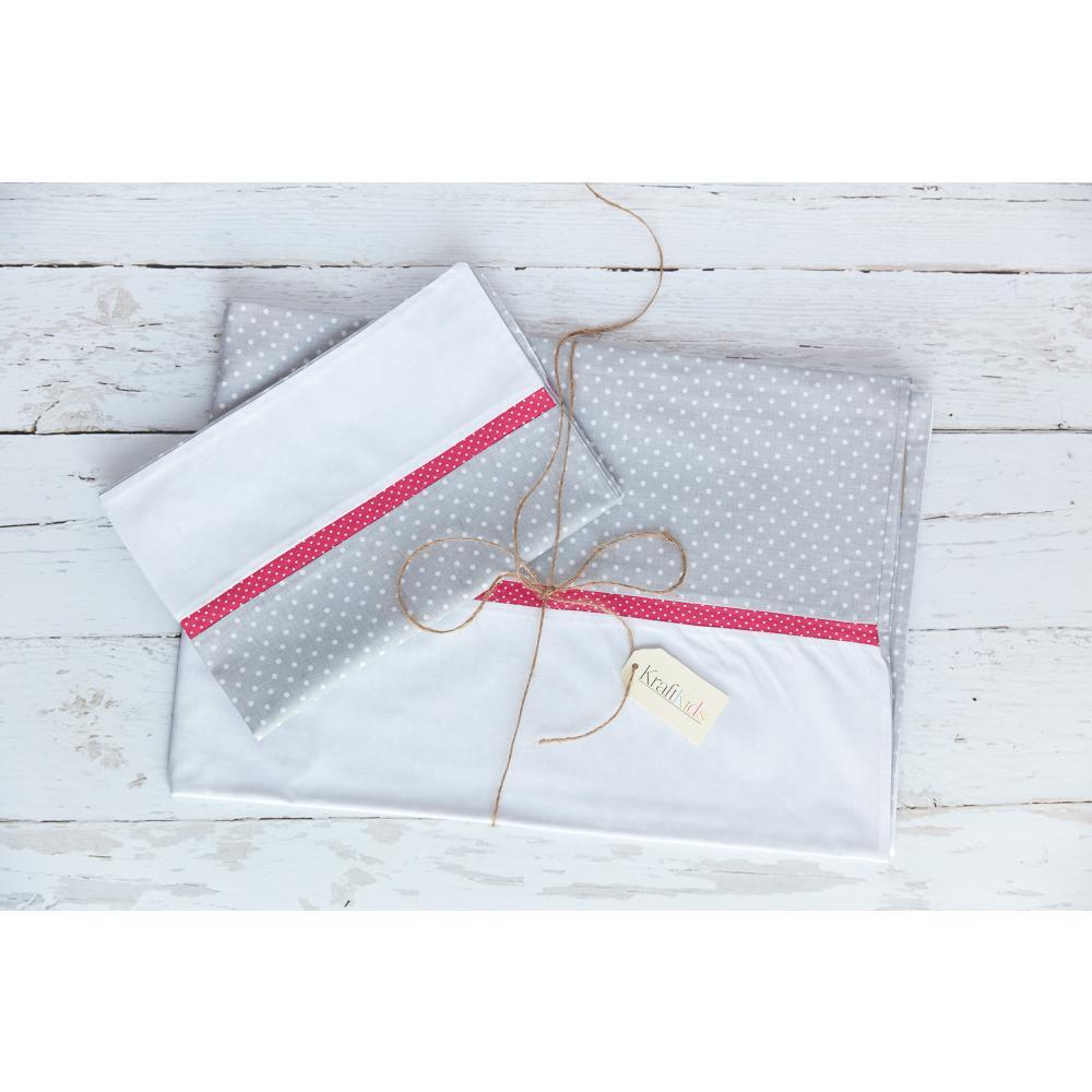 KraftKids Bettwäscheset Uniweiss und weiße Punkte auf Grau 100 x 135 cm, Kissen 40 x 60 cm