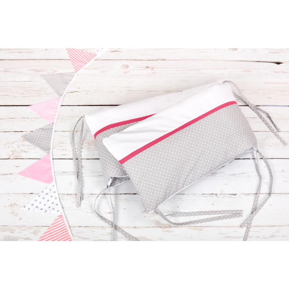 KraftKids Nestchen Uniweiss und weiße Punkte auf Grau Nestchenlänge 60-60-60 cm für Bettgröße 120 x 60 cm
