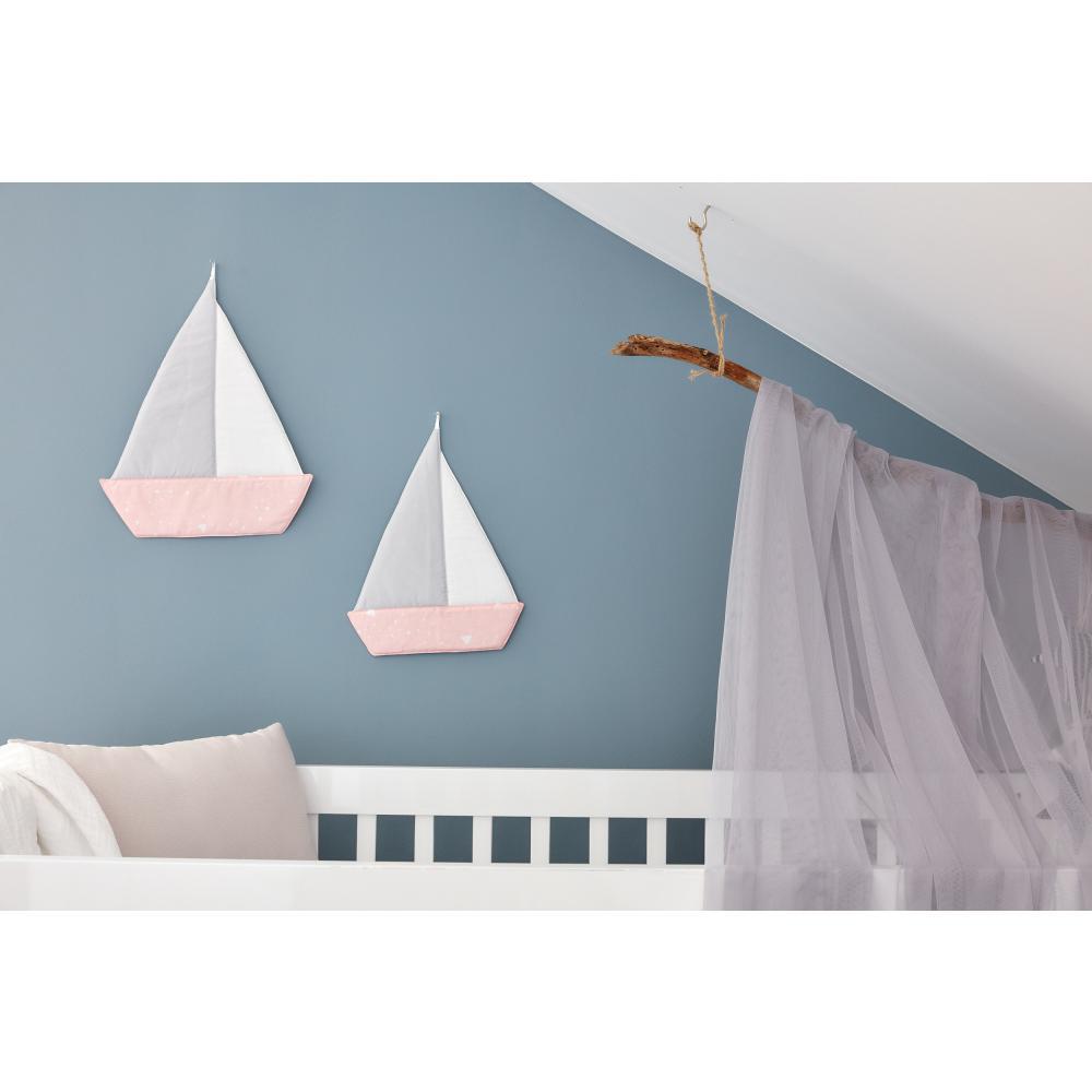 KraftKids Dekoration Segelboot abgerundete Dreiecke weiß auf Rosa