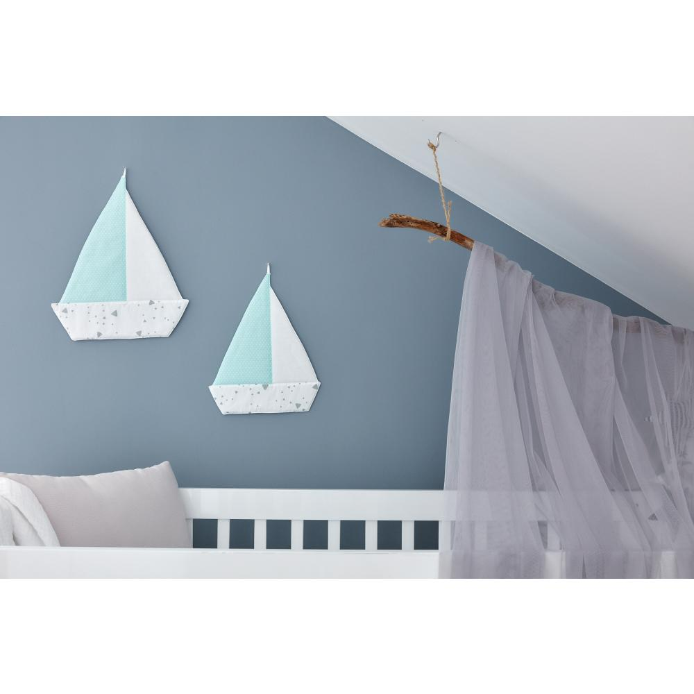 KraftKids Dekoration Segelboot abgerundete Dreiecke grau