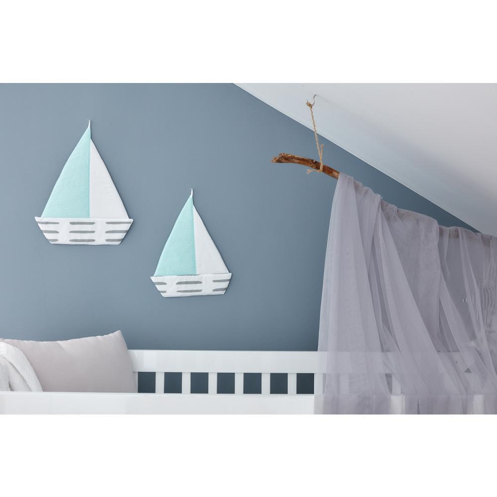 KraftKids Dekoration Segelboot graue Striche auf Wei?