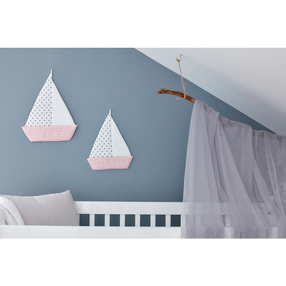 KraftKids Dekoration Segelboot graue Punkte auf Weiss