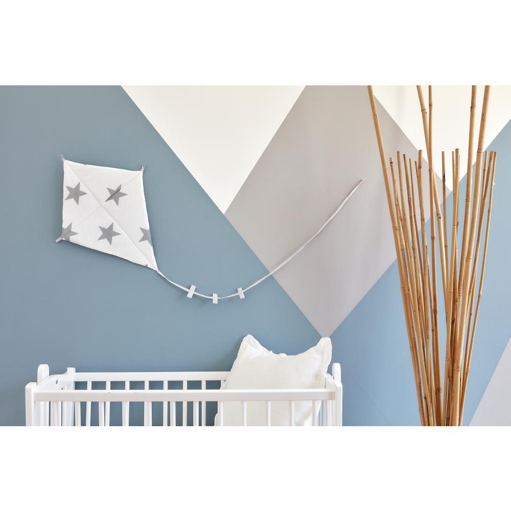 KraftKids Dekoration Luftdrache große graue Sterne auf Weiss