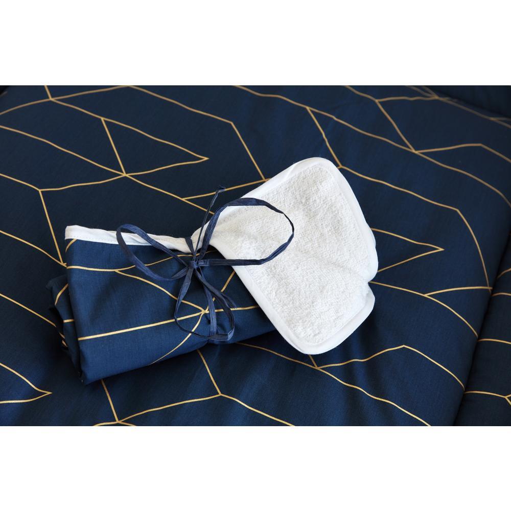 KraftKids Wickelunterlage goldene Linien auf Dunkelblau 3 Lagen wasserundurchlässig weich Frotte 100% Baumwolle