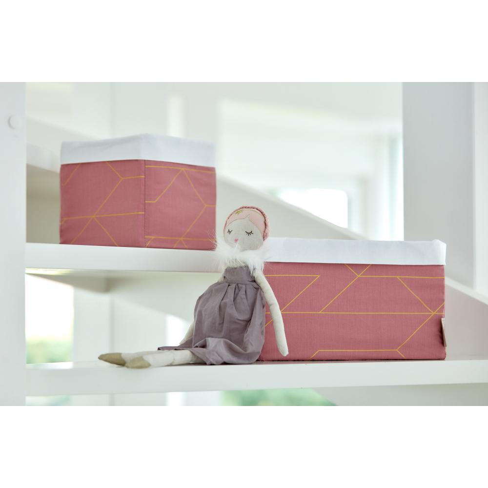 KraftKids Körbchen goldene Linien auf Rosa 20 x 20 x 20 cm