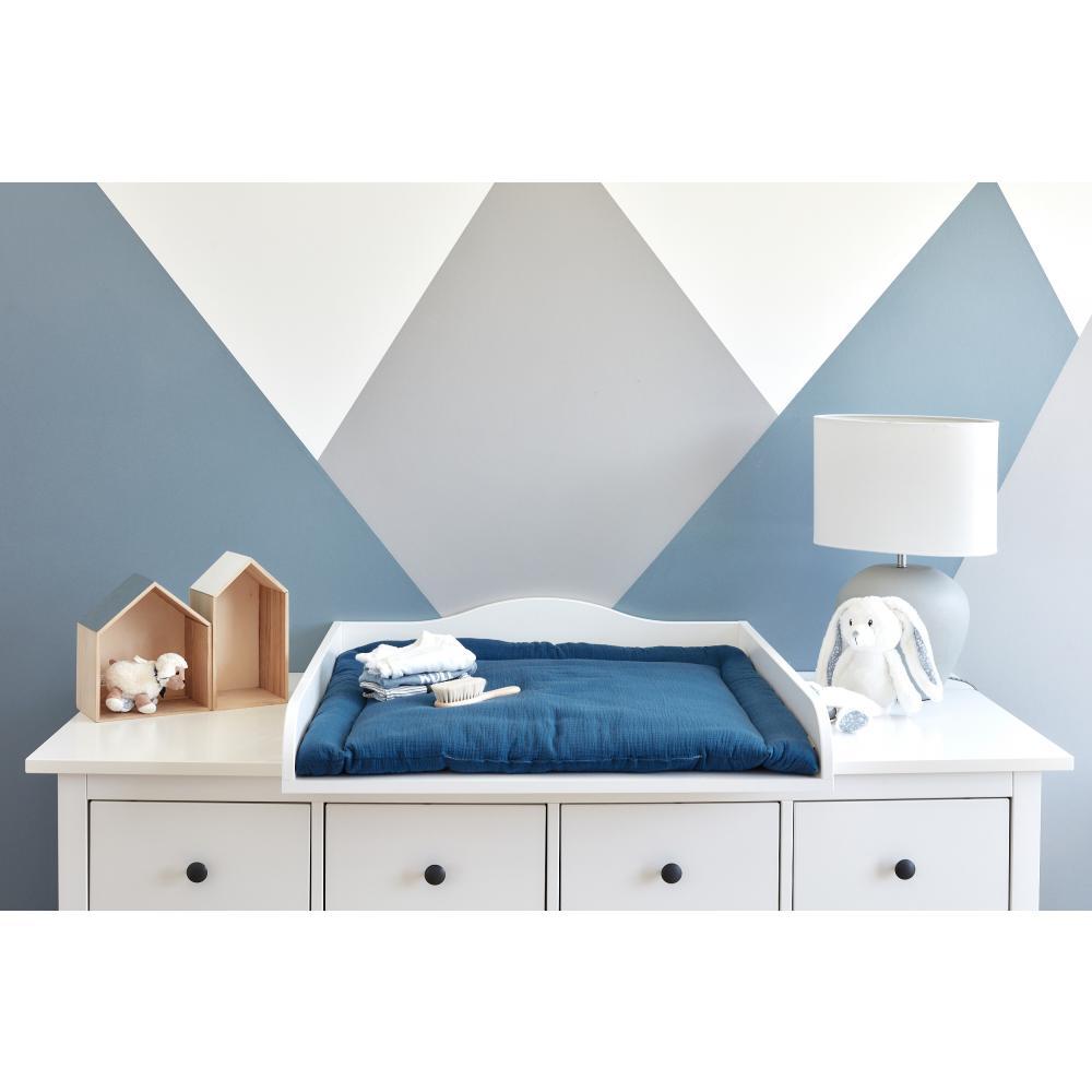 KraftKids Wickelauflage Musselin blau breit 60 x tief 70 cm passend für Waschmaschinen-Aufsatz von KraftKids