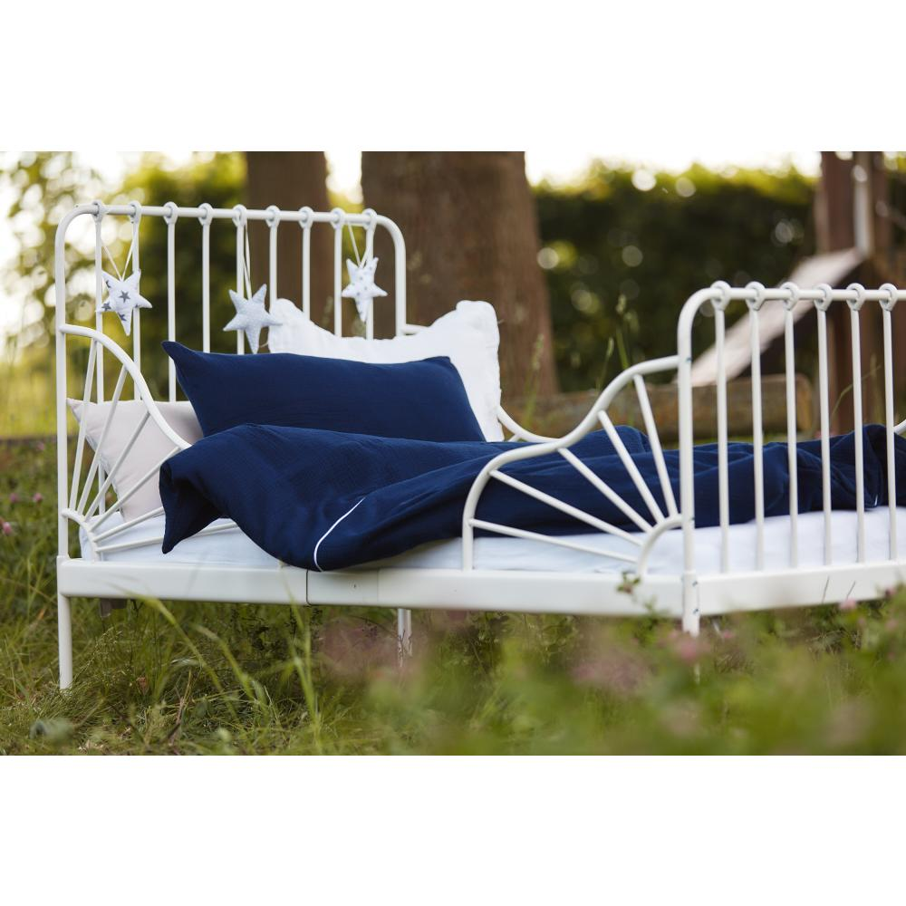 KraftKids Bettwäscheset Musselin dunkelblau 100 x 135 cm, Kissen 40 x 60 cm