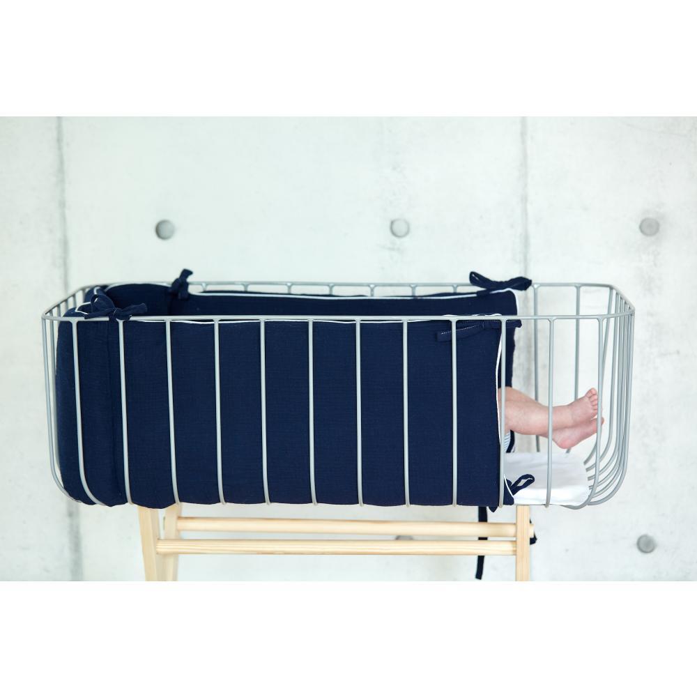 KraftKids Nestchen Musselin dunkelblau Nestchenlänge 60-70-60 cm für Bettgröße 140 x 70 cm
