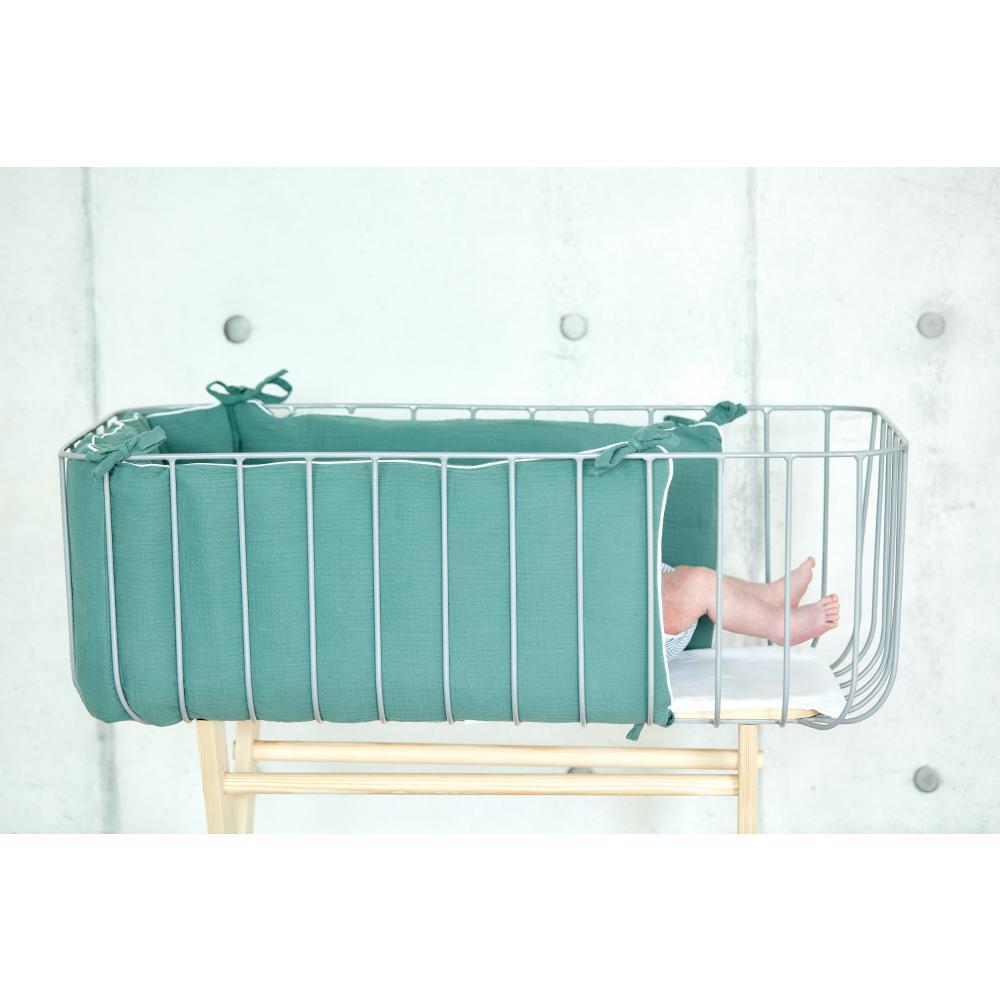 KraftKids Nestchen Musselin nilblau Nestchenlänge 60-70-60 cm für Bettgröße 140 x 70 cm