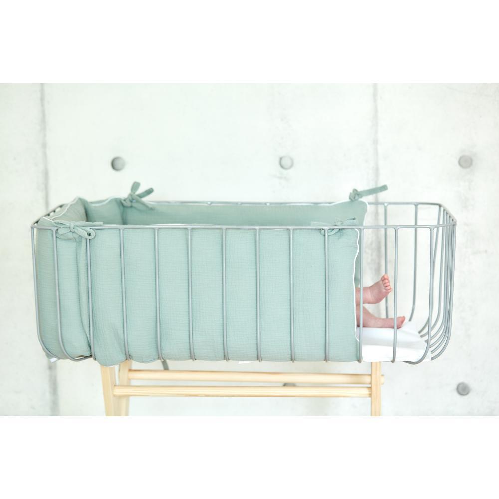 KraftKids Nestchen Musselin mint Nestchenlänge 60-60-60 cm für Bettgröße 120 x 60 cm