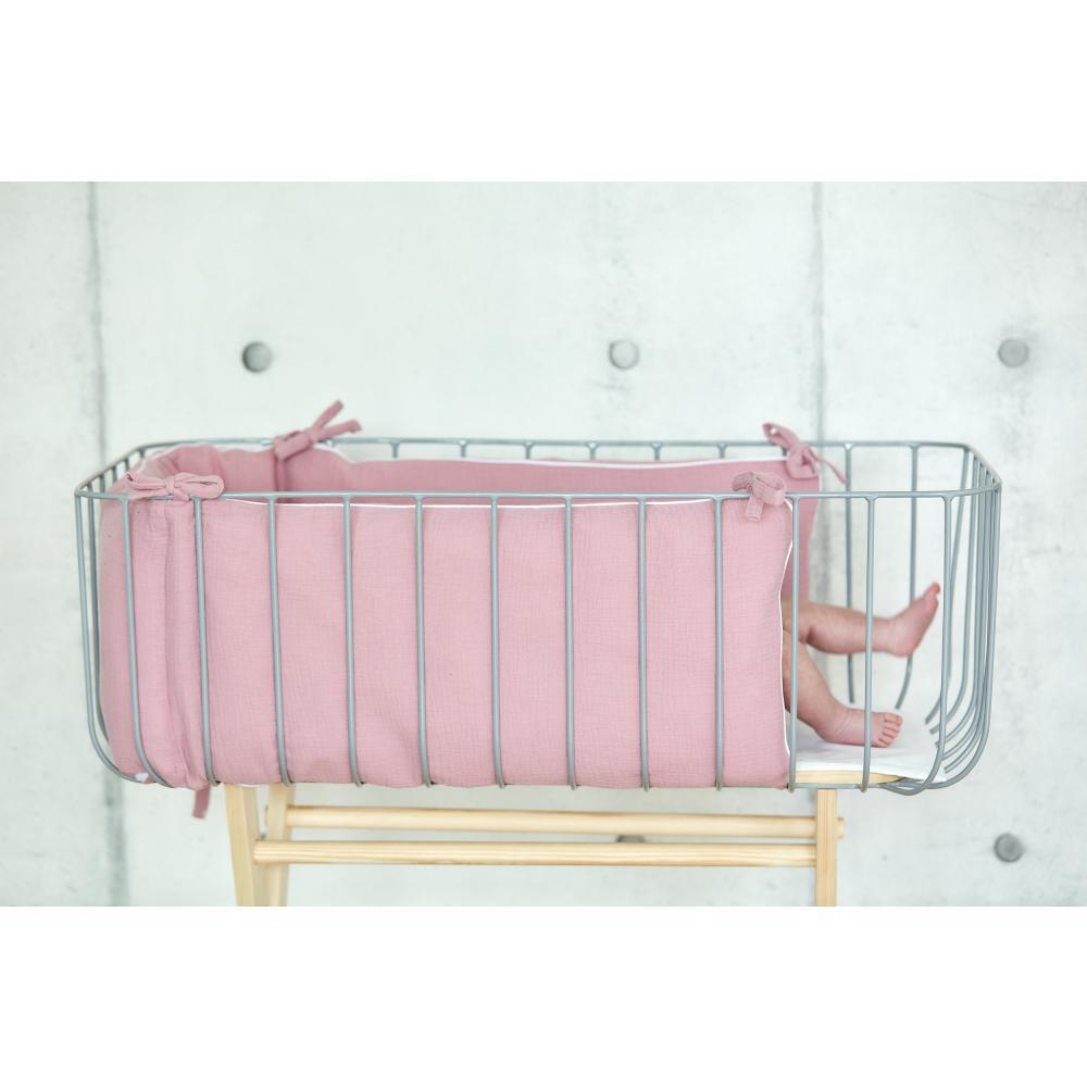 KraftKids Nestchen Musselin rosa Nestchenlänge 60-70-60 cm für Bettgröße 140 x 70 cm