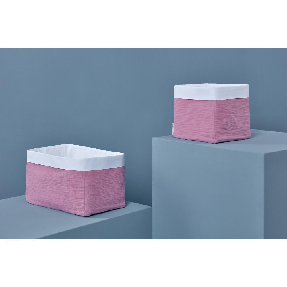 KraftKids Körbchen Musselin rosa 20 x 20 x 20 cm