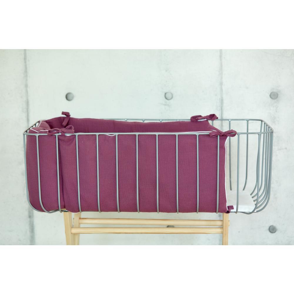 KraftKids Nestchen Musselin purpur Nestchenlänge 60-60-60 cm für Bettgröße 120 x 60 cm