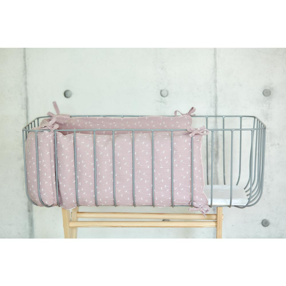 KraftKids Nestchen Musselin rosa Pusteblumen Nestchenlänge 60-60-60 cm für Bettgröße 120 x 60 cm