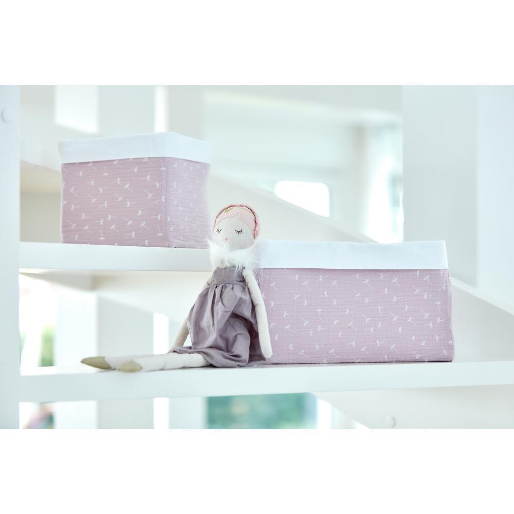 KraftKids Körbchen Musselin rosa Pusteblumen 20 x 20 x 20 cm