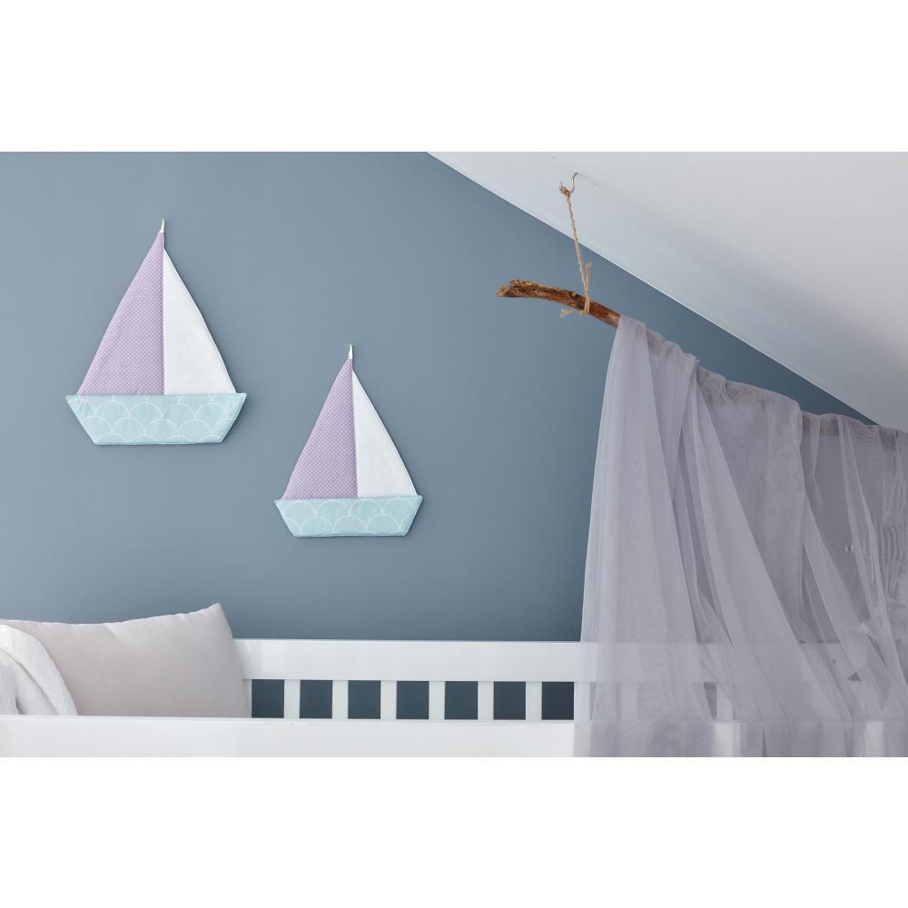 KraftKids Dekoration Segelboot weiße Halbkreise auf Pastelmint